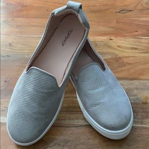 TopShop Gray slip on sneakers, made in Italy